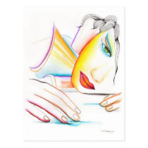 artsprojekt, sweet, imaginary, romantic, woman, dreaming, dreams, portrait, illustration, dream, inspiring, design, girl, fantasy, Postcard with custom graphic design