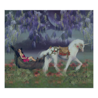 In my dreams, fantasy fairy and unicorn poster
