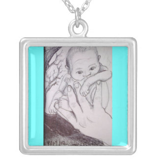 In My Father's Hand Square Pendant Necklace
