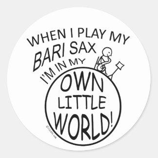 In My Own Little World Bari Sax Round Stickers