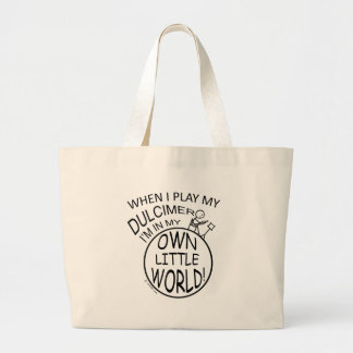 In My Own Little World Dulcimer Large Tote Bag