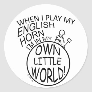In My Own Little World English Horn Classic Round Sticker
