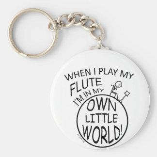 In My Own Little World Flute Basic Round Button Keychain
