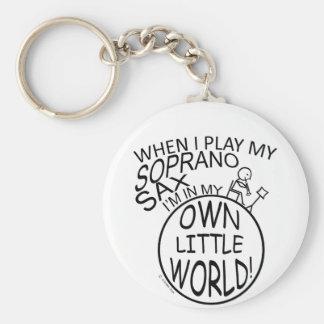 In My Own Little World Soprano Sax Basic Round Button Keychain