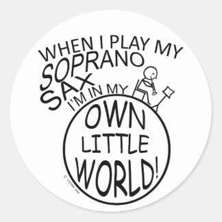 In My Own Little World Soprano Sax Round Stickers