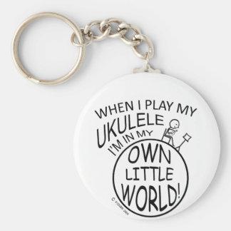 In My Own Little World Ukulele Basic Round Button Keychain