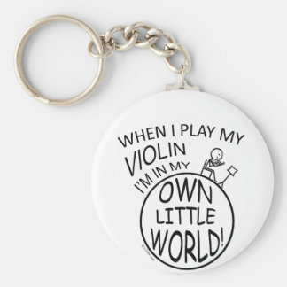 In My Own Little World Violin Keychain