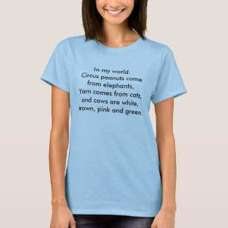 In my world: Yarn comes from cats... T-Shirt