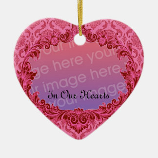 In Our Hearts Memorial Tribute Pink Damask Double-Sided Heart Ceramic Christmas Ornament