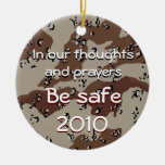 In our thoughts and prayers, In our thoug... Double-Sided Ceramic Round Christmas Ornament
