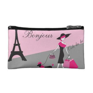 In Paris Woman and Dog Pink and Black Makeup Bag