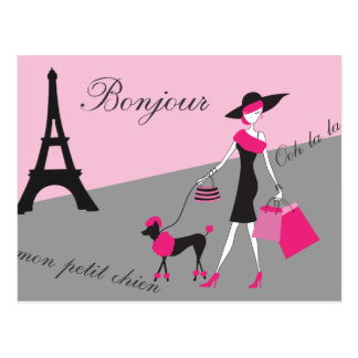 In Paris Woman and Dog Pink and Black Postcard
