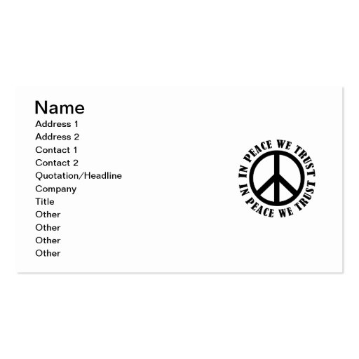 In Peace We Trust Business Card Templates