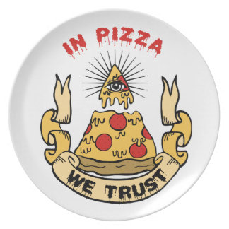 In Pizza We Trust Dinner Plate