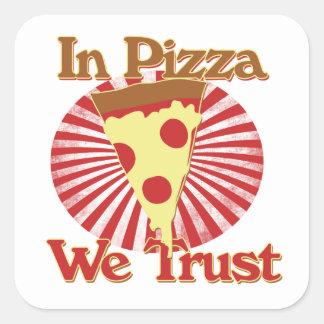 In pizza we trust square sticker
