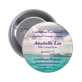 In Port Cruise Name Badge Pinback Buttons