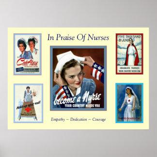 In Praise of Nurses ~ Vintage Nurse Poster