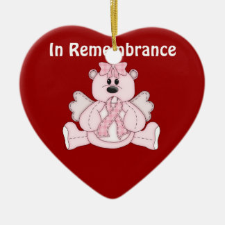 In Remembrance Breast Cancer Awareness Pink Bear Ceramic Ornament
