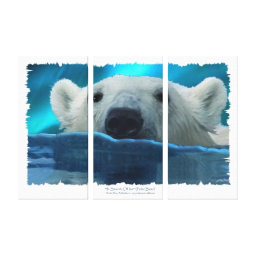 """""""IN SEARCH OF ICE"""" Swimming Polar Bear Print Stretched Canvas Print"""
