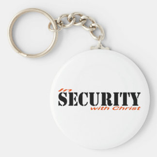 In security with Christ 2 Black Red Keychain