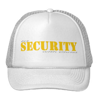 In security with Yellow Christ 2 Gray Trucker Hat
