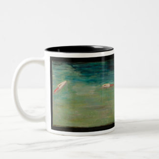 In Shore Lobster Traps Two-Tone Coffee Mug