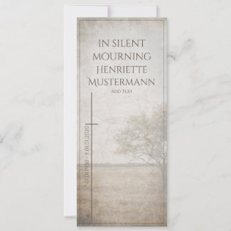 In silent mourning - tree on meadow vintage