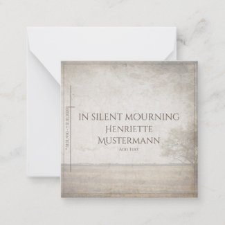 In silent mourning - tree on meadow vintage note card
