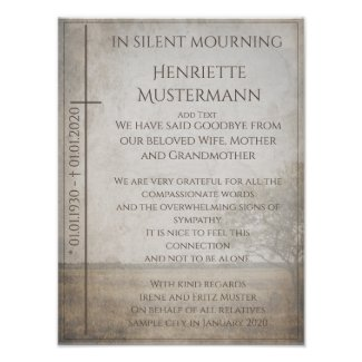 In silent mourning - tree on meadow vintage poster