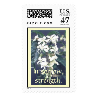 In sorrow, strength. postage