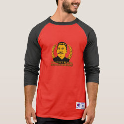 Men's Champion Raglan 3/4 Sleeve Shirt with Mustache Rides You! design