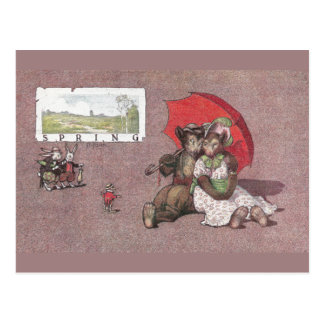In Spring Teddy Bears Go Canoodling Postcard