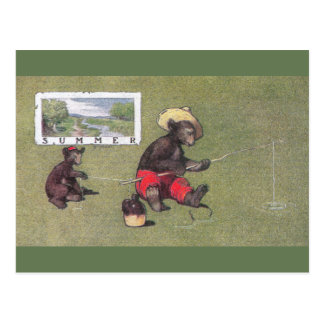 In Summer Teddy Bears Go Fishing Postcard