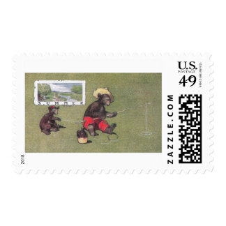 In Summer Teddy Bears Go Fishing Stamp