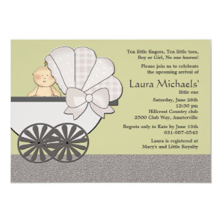 """In Suspense (You Pick Background Color)Baby Shower 5"""" X 7"""" Invitation Card"""