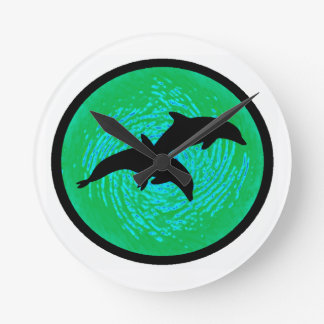 IN TEAL WATERS ROUND WALL CLOCKS
