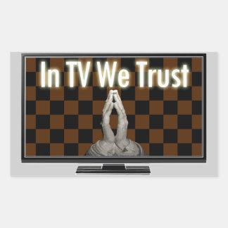 In televisionaerial We Trust Rectangular Sticker