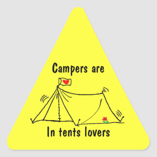 In Tents Lovers are Intense Triangle Sticker