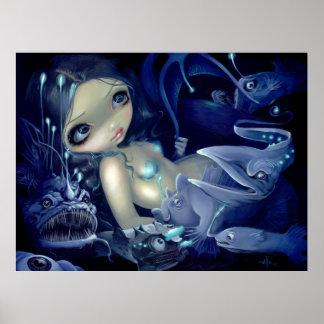 In the Abyss ART PRINT anglerfish mermaid deep sea