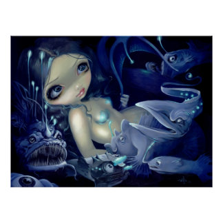 In the Abyss ART PRINT anglerfish mermaid deep sea