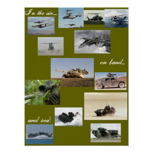 In the air on land and by sea poster