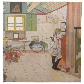 In the Attic Bedroom with Baby Sister Cloth Napkin