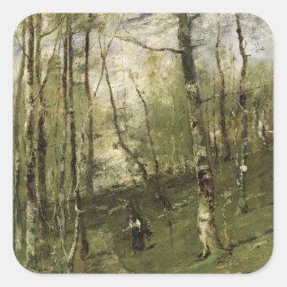 In the Barbizon Woods in 1875 Square Sticker