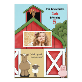 In the Barn Photo Birthday Party Invitation