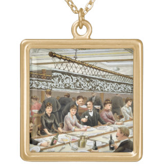 In the Bay, Dinner Time - A Western Ocean Swell, f Gold Plated Necklace