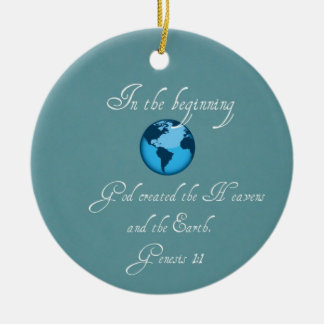 In the beginning... Double-Sided ceramic round christmas ornament