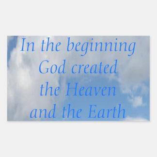 In The Beginning God Created .... Cloud Rectangular Sticker