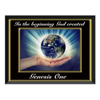 In the beginning God created Genesis 1 Planet Bl Postcard
