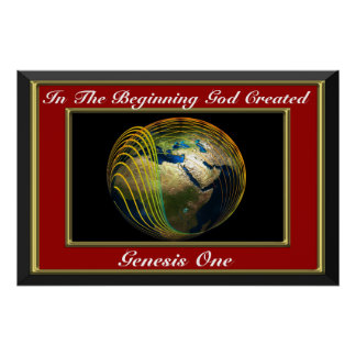 In the beginning God created Genesis Red Poster