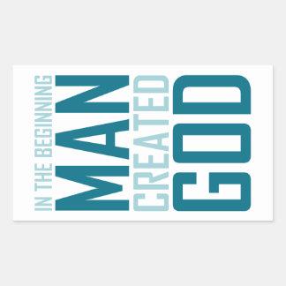 In The Beginning Man Created God Rectangular Sticker